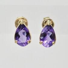 Ladies 14k Yellow Gold Pear Cut AMETHYST Stud Stick Gemstone Estate Earrings