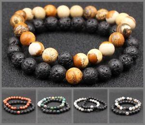 2pcs DIY Natural Stone Beads Bracelet Green Black Stone Healing Crystal Bracelet