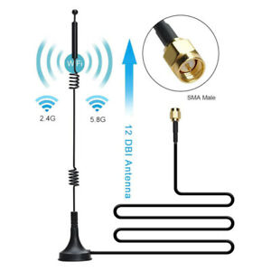 12DBI WIFI Antenna 2.4G/5.8G Dual Band Pole Antenna SMA Male With Magnetic Base