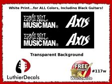 Musicman Axis Guitar Decal Waterslide White Headstock Restoration Logo #117w