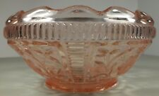 Antique Pink Depression Glass Bowl W Scalloped Turned In Edge & Intaglio Flowers