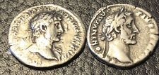 2 Roman Silver Coins: Denarius: Hadrian(117/138)&Antoninus Pius(138-160)~VF-XF