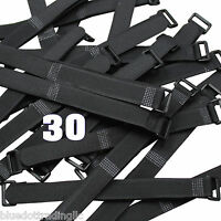 "30 pcs 8"" Black Wrap Cable Ties Wire Cord Straps Reusable Hook and & Loop US"