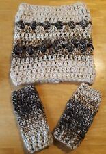 LUNIQUE Handmade Crochet SUPER PESANTE Basso di lenza/cappuccio e handwarmers Set