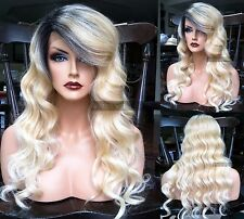 USA: Wavy Ombre Blonde HEAT OK Lace Front Long Retro Wig w/ Dark Roots