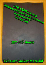 5 Exhaust Gasket Material Sheets 20x30cm 2.0mm thick Reinforced with Steel