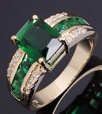 Emerald 18K Gold Filled Fashion Ring Jewelry Size 9 Man Woman Classic Wedding