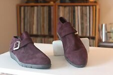 Arche 39 Plum Burgundy Nubuck 1 Inch Heel Monk Strap Shoes Women's US Size 8