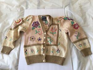 1989 Vintage BEREK by MARTA D Flowers Pink &Tan Sweater Hand Knit in Uruguay (M)