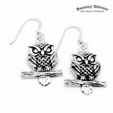 Womens 925 Sterling Silver Dangle Lucky Owl Earrings