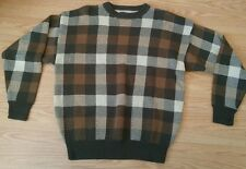 Woods and Gray men's sweater large vintage plaid brown and green 100% cotton