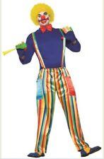 Carnival Clown Costume Adult Stripes Pants Suspenders Shirt Bowtie Men Women Std