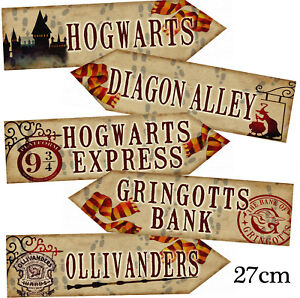 Set of 5 Harry Potter Arrows/Signs Prop PRINTED Party/Room Decoration 350GM SET2