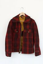 VTG Woolrich Hunting Coat Jacket Mens (40 MED) Red Black Buffalo Plaid Wool