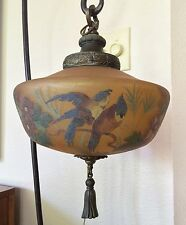 Very Rare Large Handel Mushroom Pendant Lamp 6997 Glass Exotic Birds & Flowers