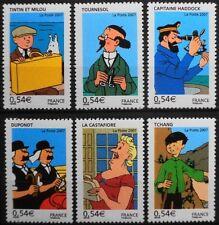 2007 FRANCE N°4051/4056** Les voyages de Tintin, bandes dessinées, set MNH