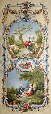 """Duet Ornament with two pastoral scenes in Cream Portiere Wall Tapestry 28""""x68"""""""