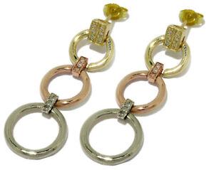 E044 Genuine 9K 9ct Tri-Color Gold NATURAL Diamond Long Drop Earrings Journey