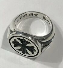 Authentic Chrome Hearts Sterling Silver Maltese Cross Signet Ring - Size 10