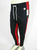 Mens Southpole Skinny Jogger Trackpants Navy Blue with Bold Red Leg Stripes