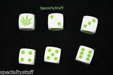 6 NEW MARIJUANA DICE 16mm WHITE WITH GREEN DOTS AND LEAF 1-6 (EG)