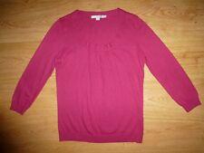 Women's Boden Thin Raspberry Pink ¾ Sleeve Round Neck Jersey Jumper Top S UK 10