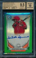 2014 Bowman Chrome Aristides Aquino Green Refractor Auto BGS 9.5 Gem Mint #d /75