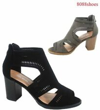 Women's Fashion Cutout  Zipper Open Toe Chunky Heel Sandal Shoes Size 5 - 10 NEW