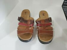 Clarks Womens Brown Leather Slide Sandals Size 12 M