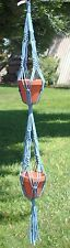 """MACRAME PLANT Hanger Vintage 2-TIER 38"""" SKY BLUE  (4mm)"""
