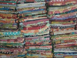 Indian Tribal Kantha Quilts Vintage Cotton Bed Cover Throw Old Sari Made Assort