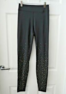HUSH Black Sparkly Gold Star Stretchy Leggings Hight Waist Trousers Size XS