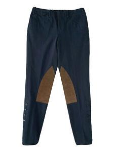 Ralph Lauren Navy Brown Suede Patch Equestrian Leggings Jodhpur Riding Pants 8