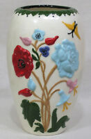 Ceramic Vase Brightly Colored Embossed Poppies Columbines and Garden Flowers