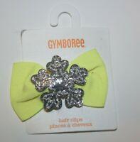 New Gymboree Girls Silver Glitter Snowflake Bow Barrette Hair Accessory NWT