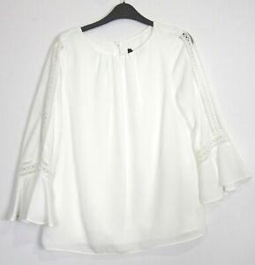 New Wallis Ivory 3/4 Quarter Sleeve Trim Top Blouse - Size 10 -18