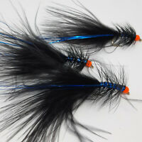 3 X Black-Blue Dancer Lures Wet Trout Flies Sizes 8,10 Fishing Flies