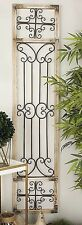 Antique Distressed Vintage Scrolling Wood Iron Garden Gate Door Wall Art Panel