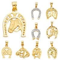 14K Real Solid Yellow Gold Lucky Horseshoe Pendant Collection For Women men