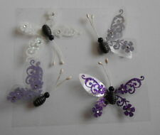 BEAUTIFUL LILAC & WHITE BUTTERFLIES EMBELLISHMENTS FOR CARDS AND CRAFTS