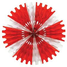 """Big Top TISSUE PAPER FAN 25"""" Decoration Red and White Striped*CIRCUS*CARNIVAL"""