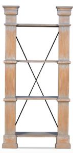 "94"" T Daphne Bookshelf Hand Crafted Solid Pine Wood Columns Iron Brackets"