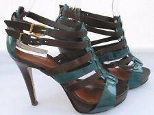 Moda in Pelle size 5 (38) brown and turquoise leather high heel sandals