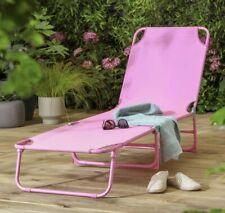 1x Metal Folding Sun Lounger Recline Lounge Garden Recliner Chair Outdoor Relax