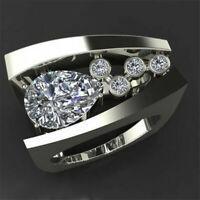 Luxurious 925 Silver White Topaz Ring Fashion Women Wedding Jewelry Size 6-10