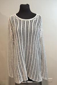 J. Jill Women's Gray Linen Sweater Open Weave Crochet Tunic Sweater Top Sz XL