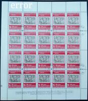 BULGARIA 1979, 35 ST. PHILASERDICA, STAMP ON STAMP ERROR 1978 COMPLETE SHEET 20