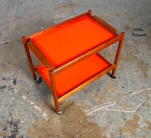 Mid Century Danish Modern Serving Cart Trolley Teak Rolling Bar Red 2 Serving VG