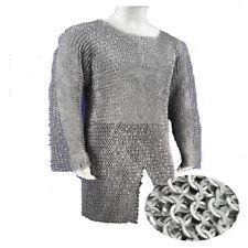 Chain mail 10 MM Flat Riveted Hauberk Full Sleeve Shirt Medium Size Medieval Cha