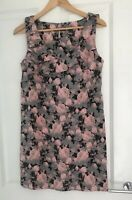 OASIS FLORAL PRINT PENCIL WIGGLE SLEEVELESS DRESS SIZE 12 PINK GREY